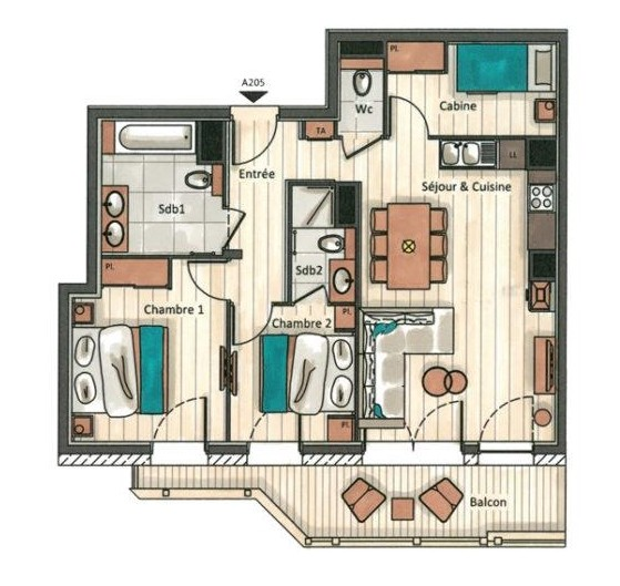 Annapurna-A205-plan-location-appartement-chalet-Les-Gets