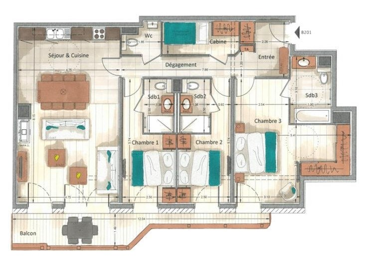 Annapurna-B201-plan-location-appartement-chalet-Les-Gets