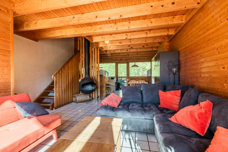Telemark-salon-cheminee-location chalet appartement Les Gets